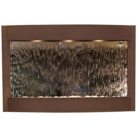"""Calming Waters Mirrored Woodland Brown 35""""H Wall Fountain"""