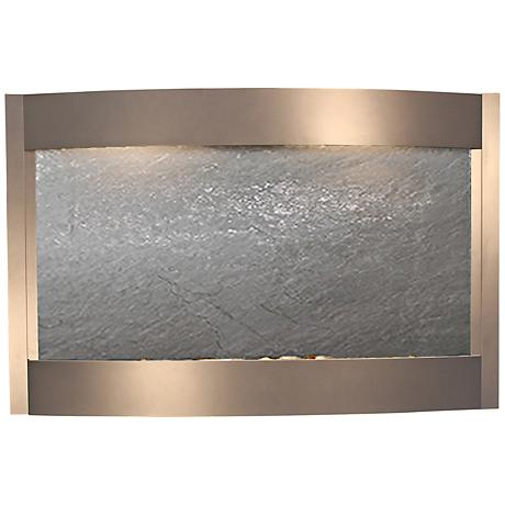 Calming Waters Black Stone Silver Metallic Wall Fountain