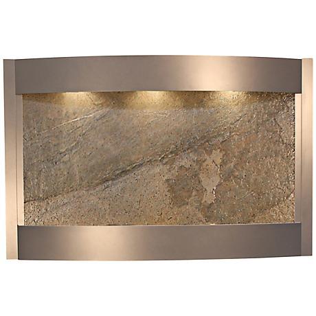 Calming Waters Green Stone Silver Metallic Wall Fountain