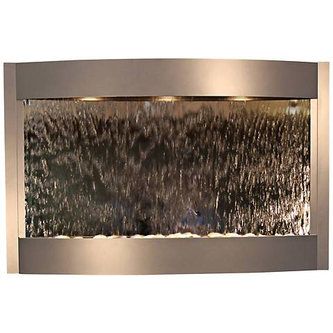 "Calming Waters Mirrored 35""H Silver Metallic Wall Fountain"