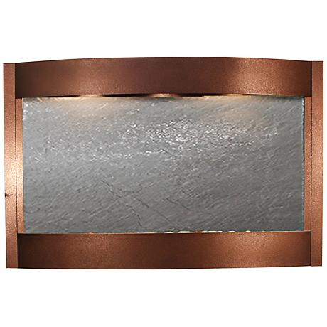 """Calming Waters Black Stone Copper Vein 35""""H Wall Fountain"""