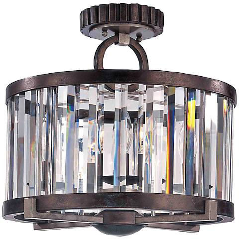 "Foster 15"" High Grecian Bronze Crystal Ceiling Light"