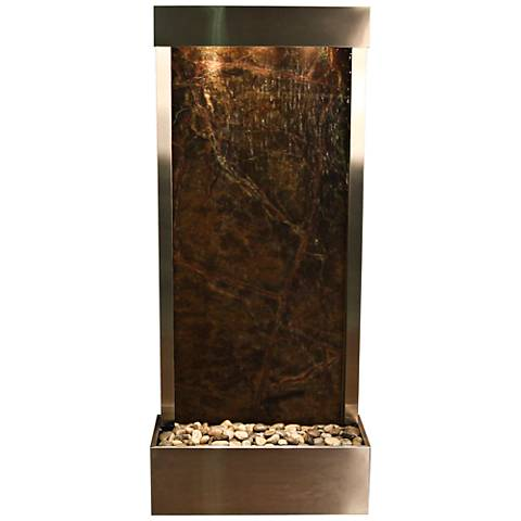 "Harmony River Steel 70"" High Indoor Green Marble Fountain"