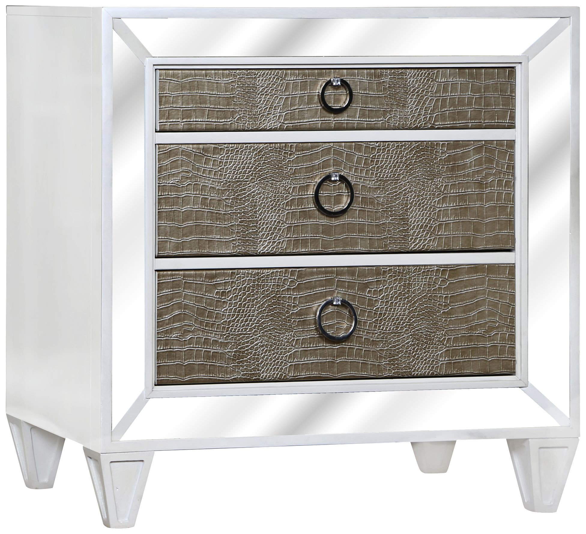 monroe pearlized white mirrored 3drawer nightstand