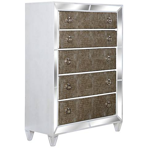 Monroe Pearlized White Mirrored 5-Drawer Chest