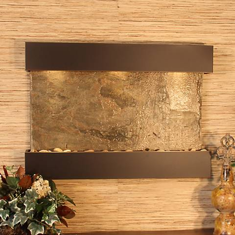 "Reflection Creek Green Slate Blackened 27""H Wall Fountain"