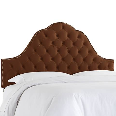 Regal Chocolate Button Tufted Arched Queen Headboard