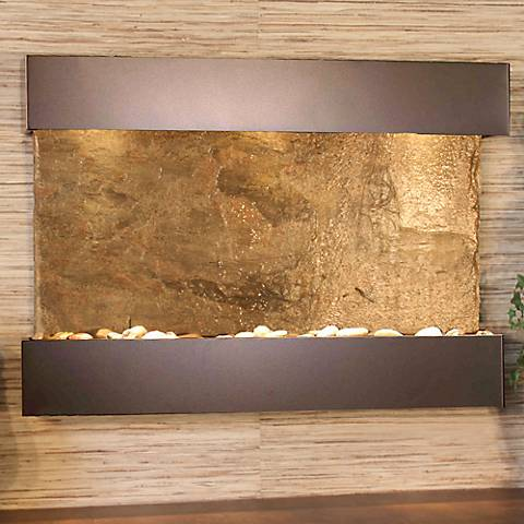 "Reflection Creek Green Slate Bronze 27"" High Wall Fountain"