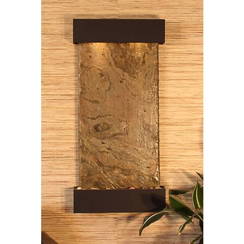 "Whispering Creek Green Slate Bronze 46"" High Wall Fountain"
