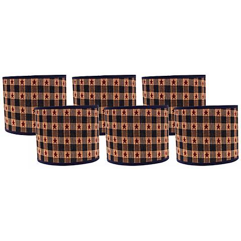 Star Spangled 5x5x4.5 Drum Shade Set of 6 (Clip-On)