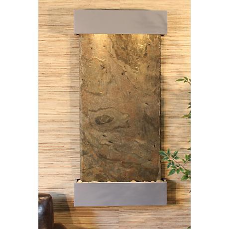 "Whispering Creek Green Slate Silver 46"" High Wall Fountain"