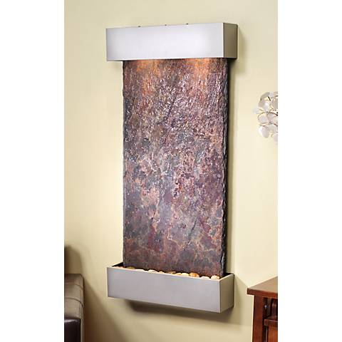 "Whispering Creek Slate Silver 46"" High Wall Fountain"