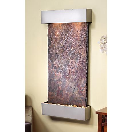 "Whispering Creek Slate Silver 46"" High Wall Fountain"