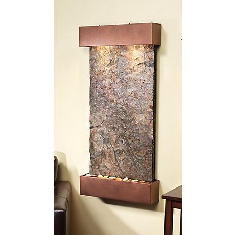 "Whispering Creek Green Slate Copper Vein 46""H Wall Fountain"