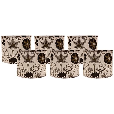 Calypso Browns on White 5x5x4.5 Shade Set of 6 (Clip-On)