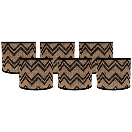 Black Chevron Burlap 5x5x4.5 Drum Shade Set of 6 (Clip-On)