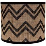 Black Chevron Burlap 12x12x10 Drum Shade (Spider)
