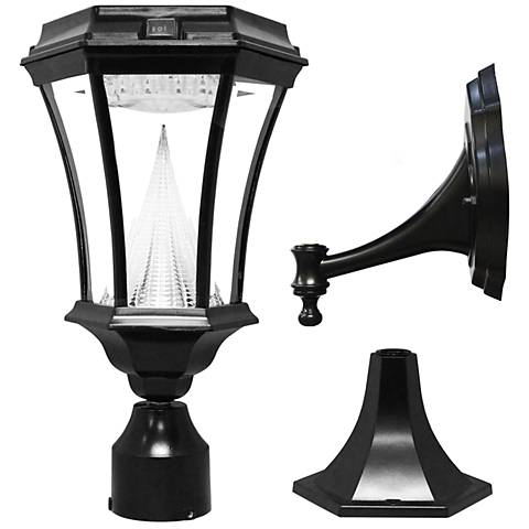 "Victorian Black 15"" High Tri-Mount Bright LED Solar Light"