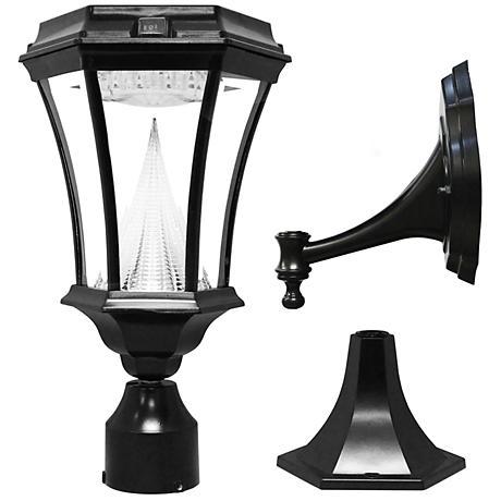 "Victorian Black 15"" High Tri-Mount Bright LED Solar Light"