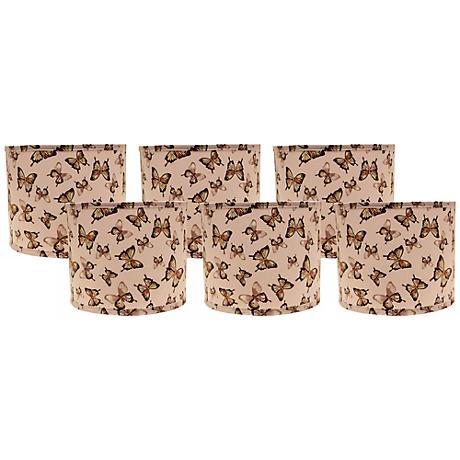Blushing Butterflies 5x5x4.5 Drum Shade Set of 6 (Clip-On)