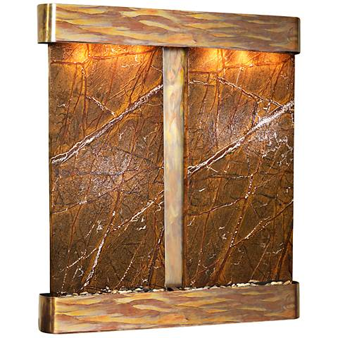 Cottonwood Falls Brown Marble Round Copper Wall Fountain