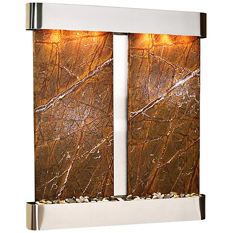 Cottonwood Falls Round Steel Brown Marble Wall Fountain