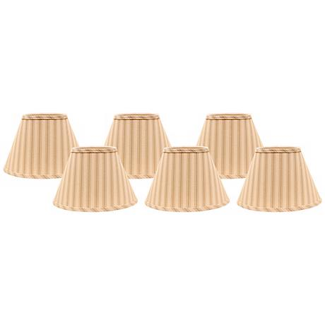 Wide Taupe Ticking 6x6x5.25 Empire Shade Set of 6 (Clip-On)