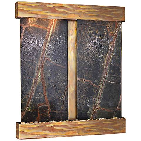 Cottonwood Falls Rustic Copper Green Marble Wall Fountain