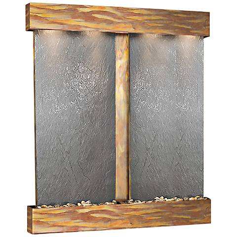 Cottonwood Falls Rustic Copper Black Stone Wall Fountain