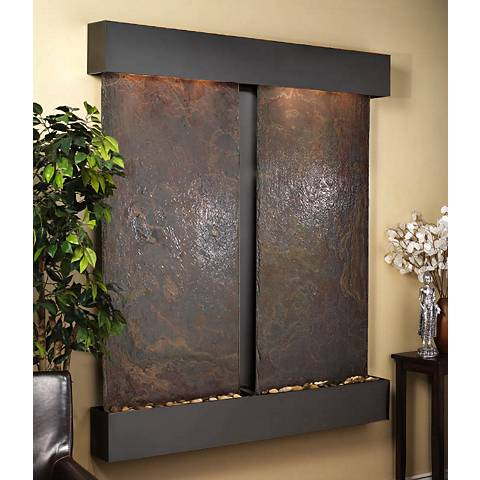 Cottonwood Falls Multicolor Slate Blackened Wall Fountain
