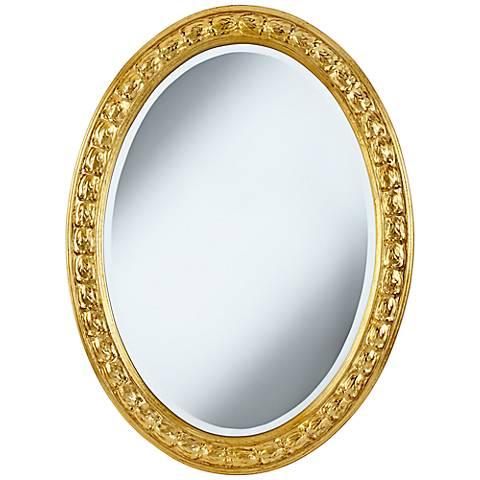 "Ralston Gold Medallion Trim 26"" x 35"" Oval Wall Mirror"