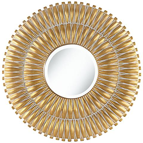 "Veneta Radiating Antique Gold 29 1/2"" Round Wall Mirror"