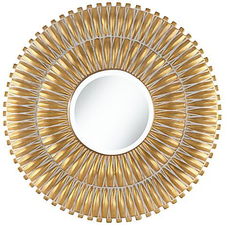 "Veneta Radiating Antique Gold 29 1/2"" Round Wall Mirror"