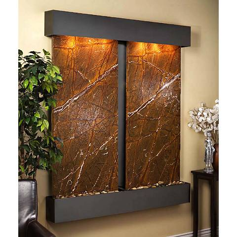 """Cottonwood Falls Brown Marble Blackened 69""""H Wall Fountain"""