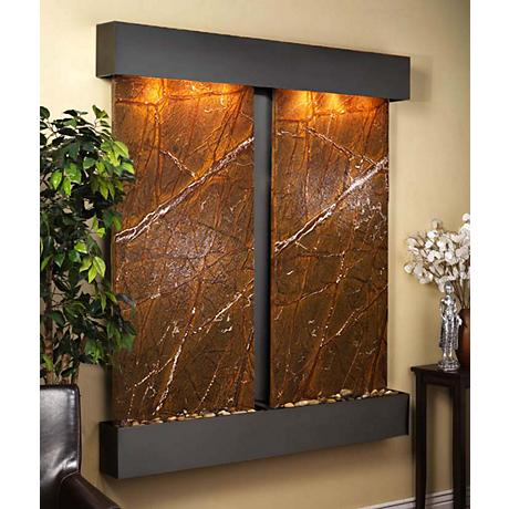 Cottonwood Falls Brown Marble Blackened Wall Fountain