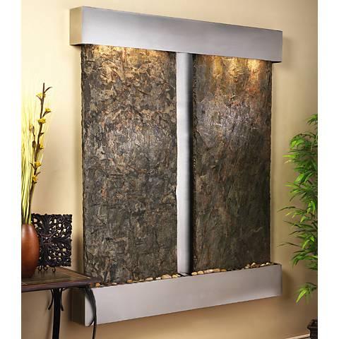 "Cottonwood Falls Steel Green Slate 69"" High Wall Fountain"