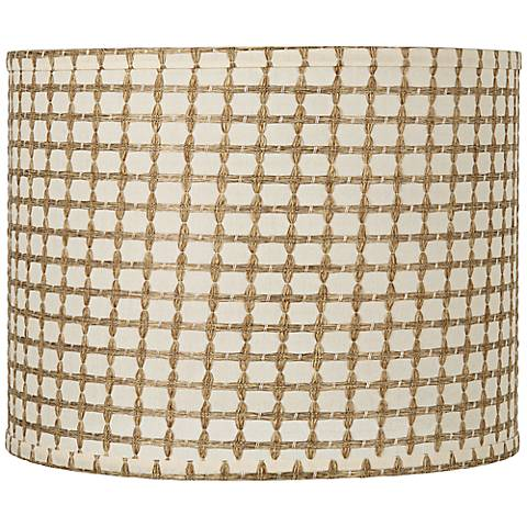 Cream with Tan Weave Drum Shade 14x14x11 (Spider)