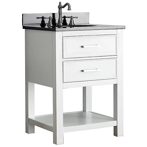 """Avanity Brooks 24"""" Black Top White Single Sink Vanity"""