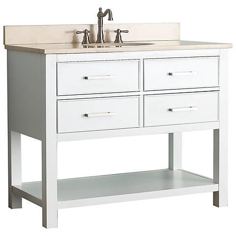 """Avanity Brooks 42"""" Beige Top White Single Sink Vanity"""