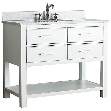 """Avanity Brooks 42"""" White Top White Single Sink Vanity"""