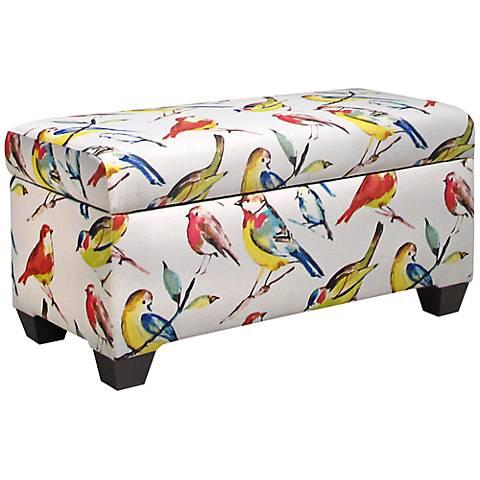 Birdwatcher Summer Multicolor Linen Storage Bench