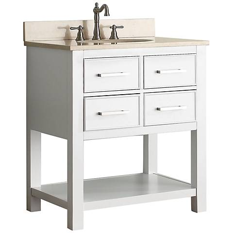 "Avanity Brooks 30"" Beige Top White Single Sink Vanity"