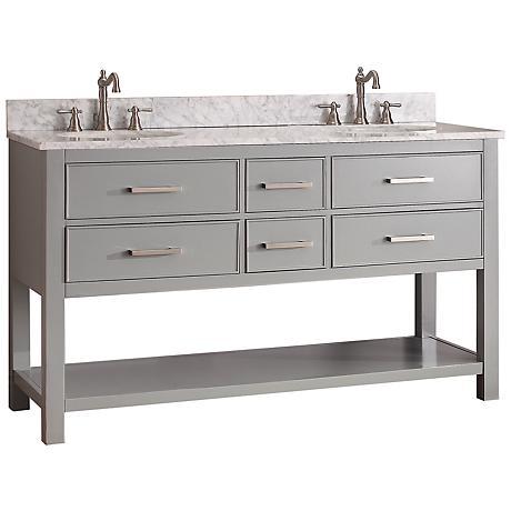 "Avanity Brooks 60"" White Top Gray Double Sink Vanity"