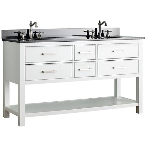 "Avanity Brooks 60"" Black Top White Double Sink Vanity"