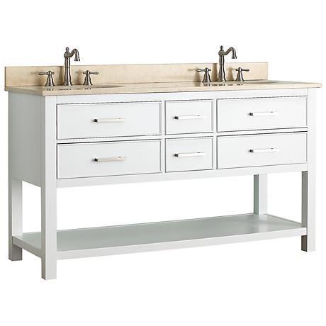 """Avanity Brooks 60"""" Beige Top White Double Sink Vanity"""