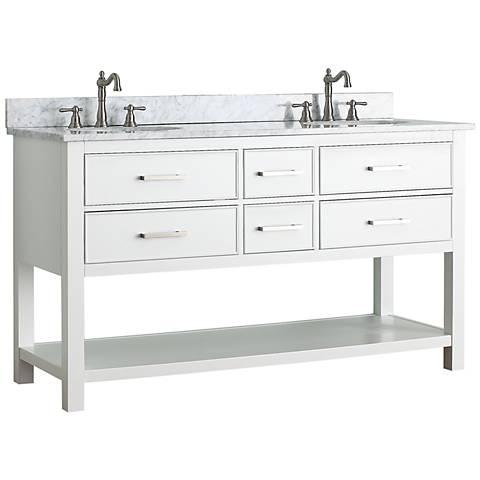 "Avanity Brooks 60"" White Top White Double Sink Vanity"