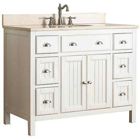 "Avanity Hamilton 42"" Beige Top French White Vanity"