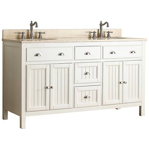"Hamilton 60"" Beige Top French White Double Sink Vanity"