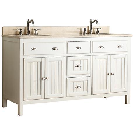 "Hamilton 60"" Beige Top French White Double Sink Vanity"