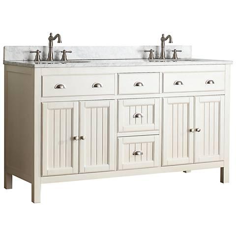 """Hamilton 60"""" White Top French White Double Sink Vanity"""